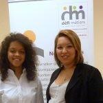Hella Kribi Romdhane, présidente de Défi métiers, le Carif-Oref francilien, en compagnie d'une jeune bénéficiaire