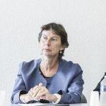 Clotilde Valter, ici le 5 septembre en visite au centre de formation d'apprentis Stephenson, à Paris.