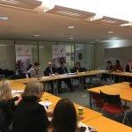 Lors de la conférence de presse du 2 février, Dominique Perriot, président du comité national du FIPHFP, Marc Desjardins, directeur de l'établissement public, Hélène Berenguier, directrice-adjointe, et Christelle de Batz, secrétaire générale.