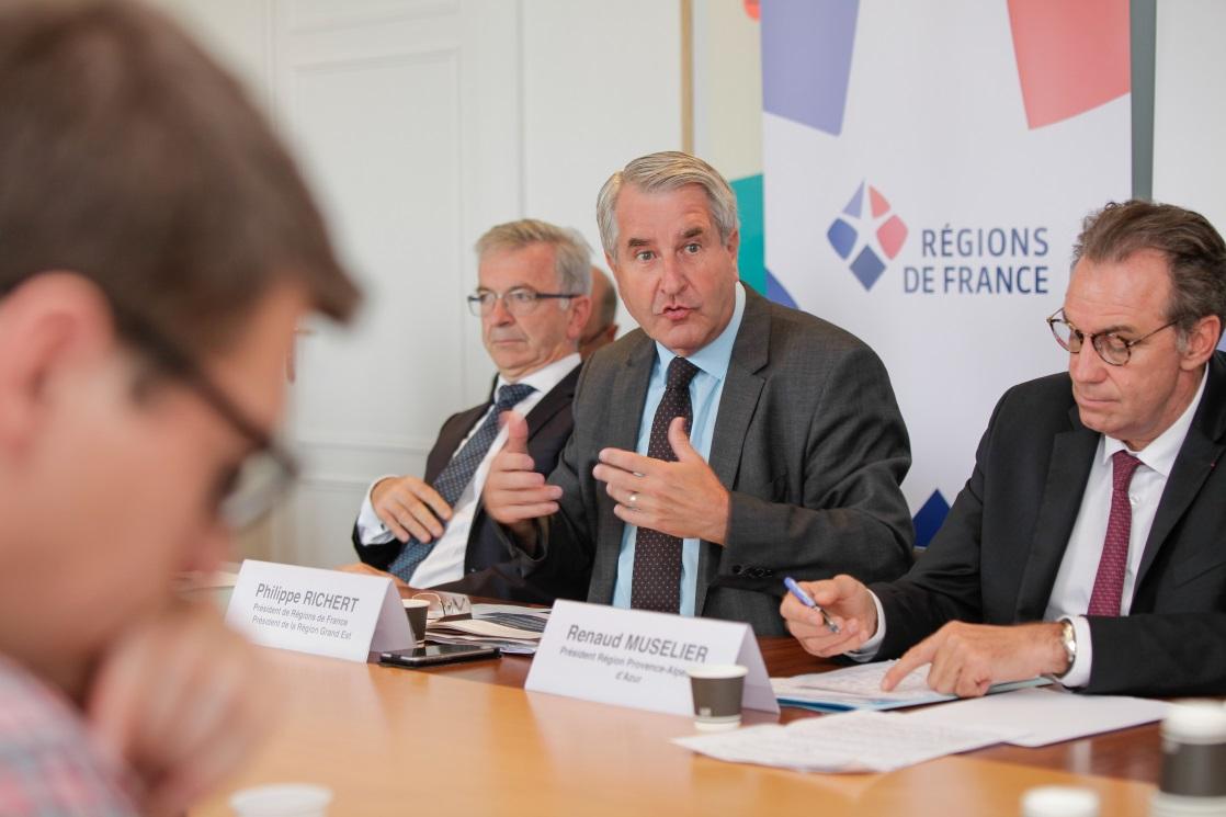 Le 30 août dernier, les présidents François Bonneau (Centre-Val de Loire), Philippe Richert (Grand Est) et Renaud Muselier (Provence-Alpes-Côte d'Azur).