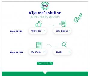 Copie d'écran de l'outil en ligne 1 Jeune 1 Solution