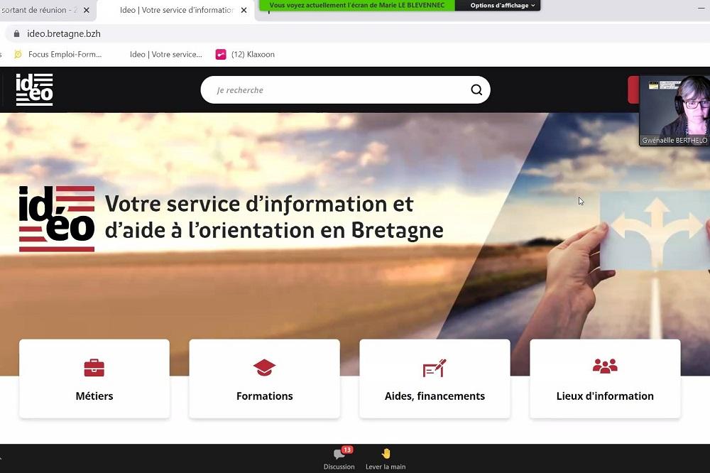 Copie d'écran du site IDEO, service d'aide à l'information et à l'orientation en Bretagne