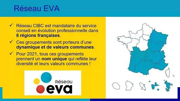 Diapo de présentation du Réseau EVA, qui réunit les opérateurs du conseil en évolution professionnelle (CEP)